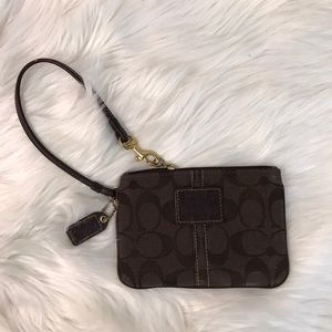 Coach Monogram Fabric Wristlet Clutch